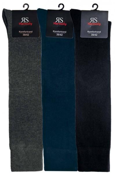 XL Komfort Kniestrumpf - 3 farbig, dunkel - 3 Pack